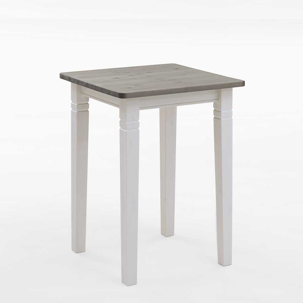 Küchenbartisch in Weiß Grau Kiefer Massivholz