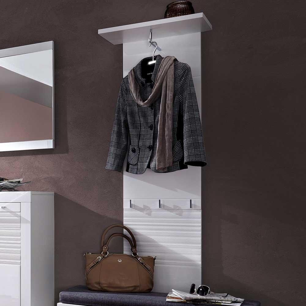 Kleiderpaneel in Weiß Hochglanz geriffelt mit Hutablage | Flur & Diele > Regale für Flur und Diele > Wandregale für Flur und Diele | BestLivingHome