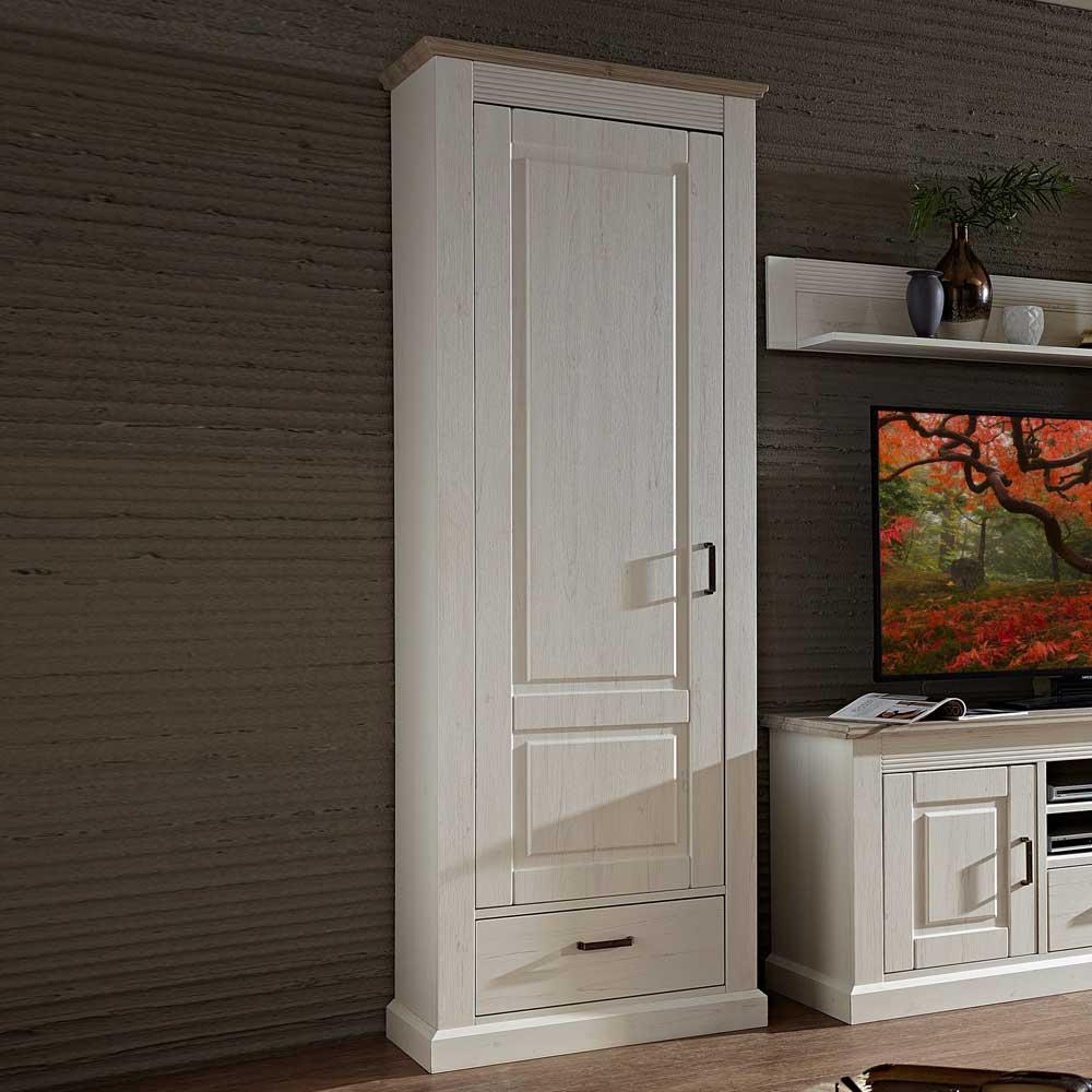 Seitenschrank für Wohnwand Weiß Grau Braun