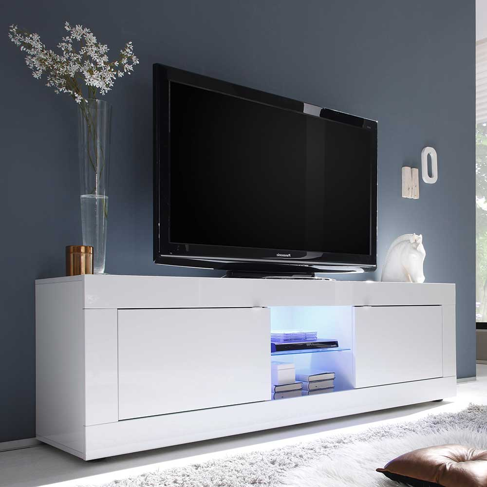 Hochglanz TV Lowboard mit LED Beleuchtung 180 cm breit