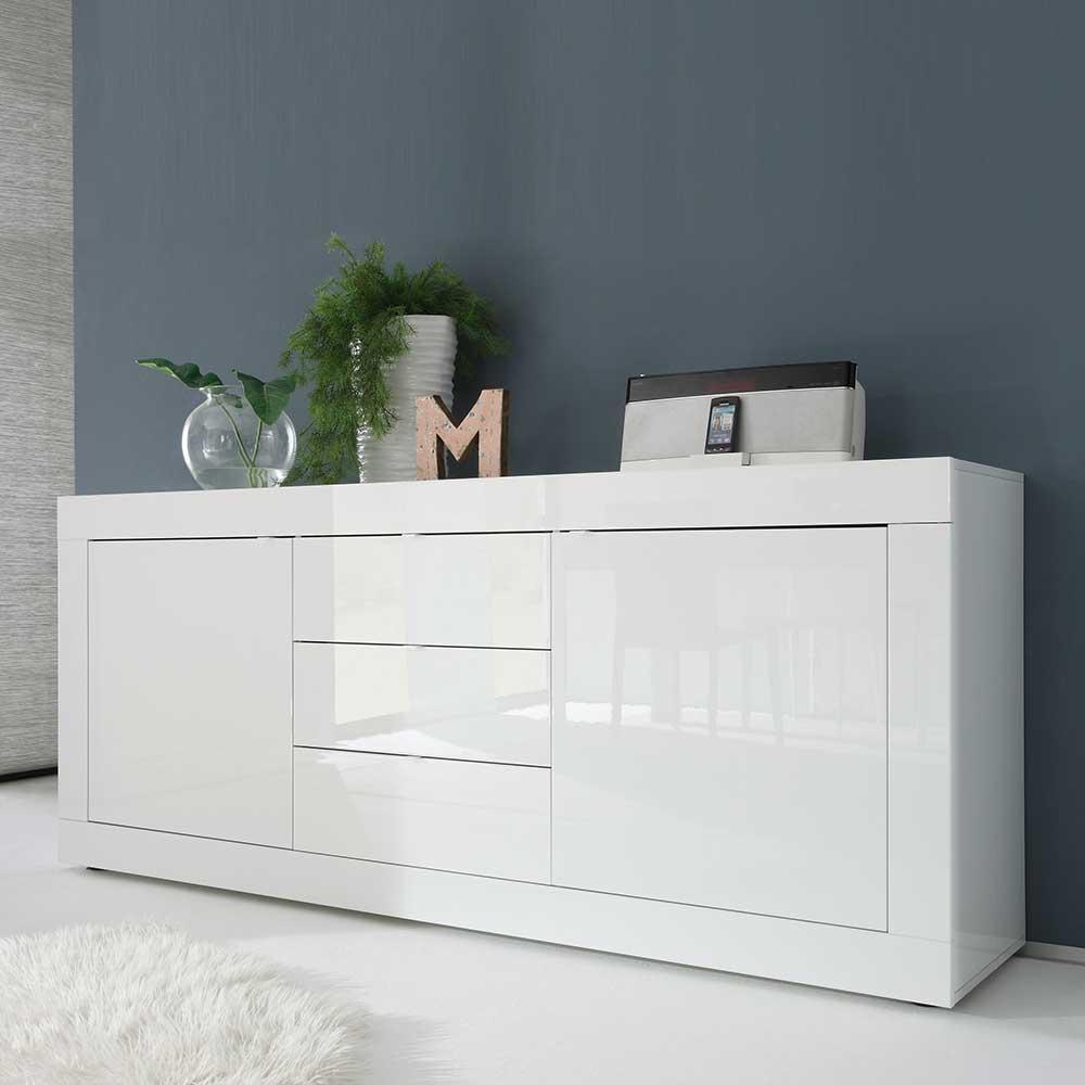 Wohnzimmer Sideboard in Hochglanz Weiß 210 cm