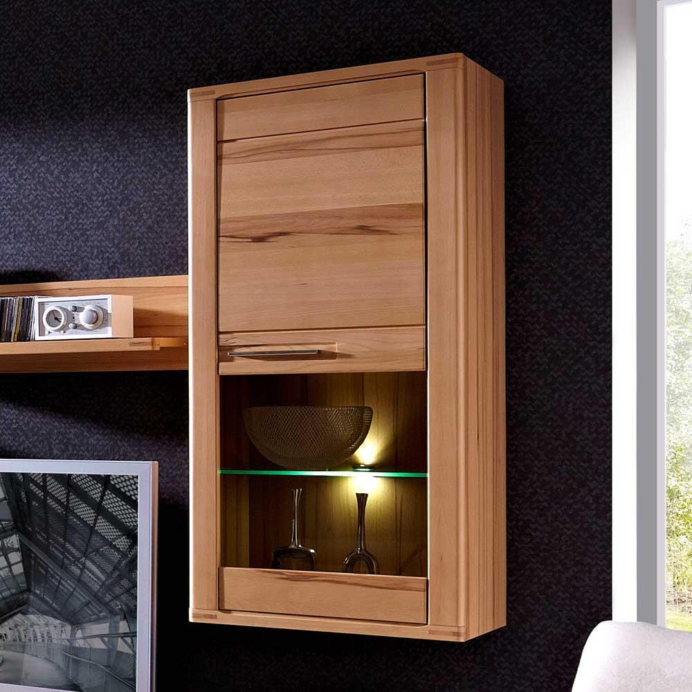 Hängevitrine mit LED Beleuchtung Kernbuche lackiert | Wohnzimmer > Vitrinen > Hängevitrinen | Holz | Massivholz | BestLivingHome