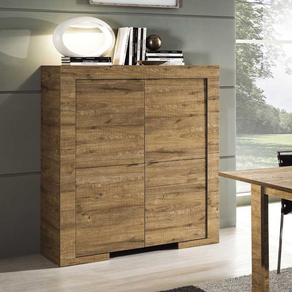 Esszimmer Highboard in Eiche 4 Türen