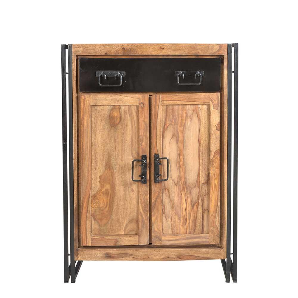 Flur Kommode aus Sheesham Massivholz Metall Schwarz | Flur & Diele > Regale für Flur und Diele | Holz | Massivholz | Möbel Exclusive