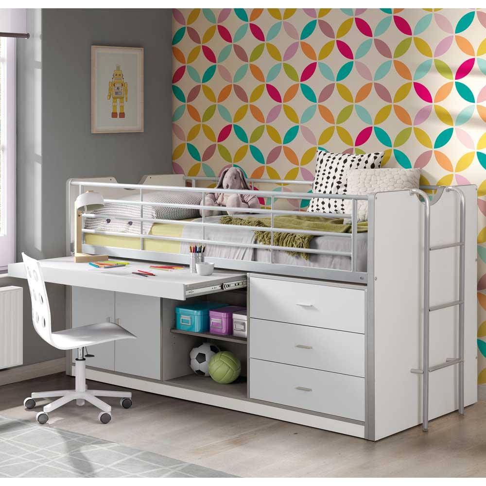 Kinderhochbett mit Schreibtisch Weiß   Kinderzimmer > Kindertische   Weiß   Holzwerkstoff   4Home