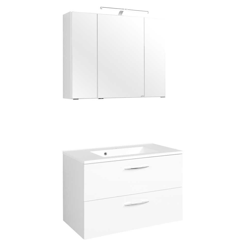Badmöbel Set mit Waschtisch und Spiegelschrank Weiß (zweiteilig)