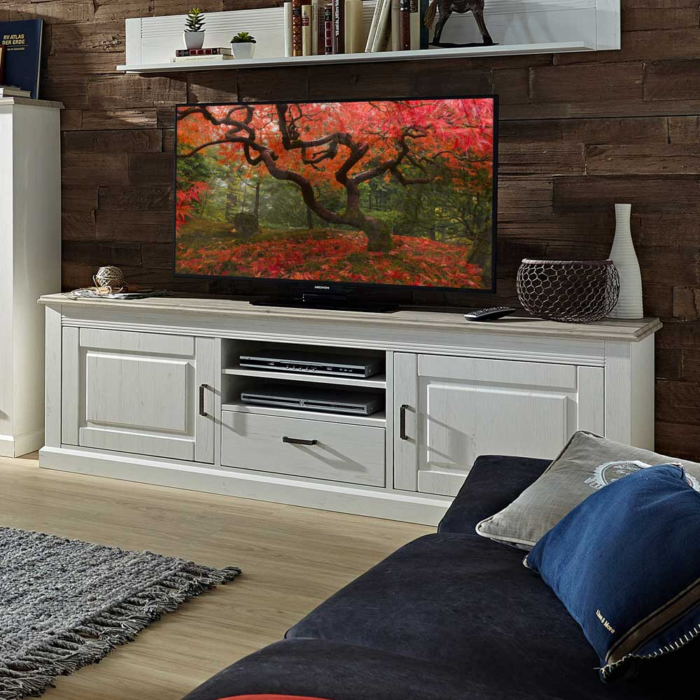 TV Lowboard in Weiß Taupe skandinavisch