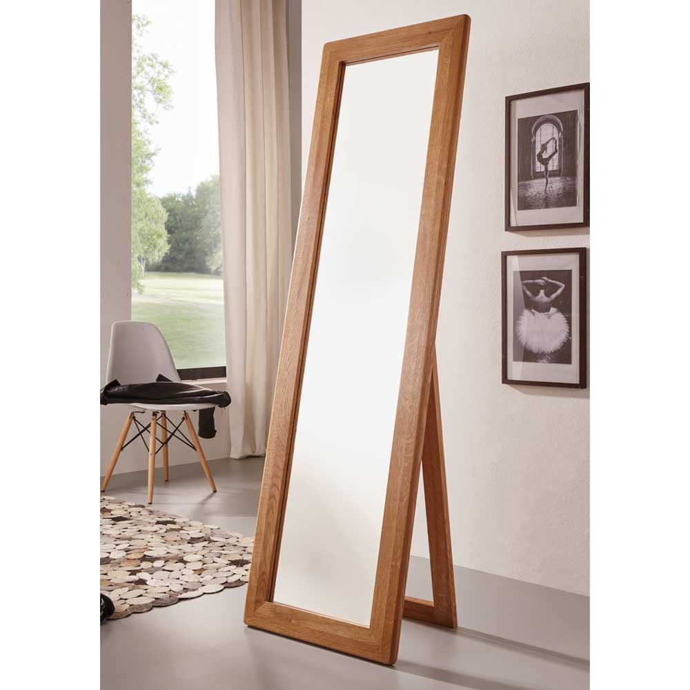 Standspiegel aus Wildeiche Massivholz klappbar   Flur & Diele > Spiegel > Standspiegel   Wildeiche - Massivholz - Spiegelglas   Basilicana