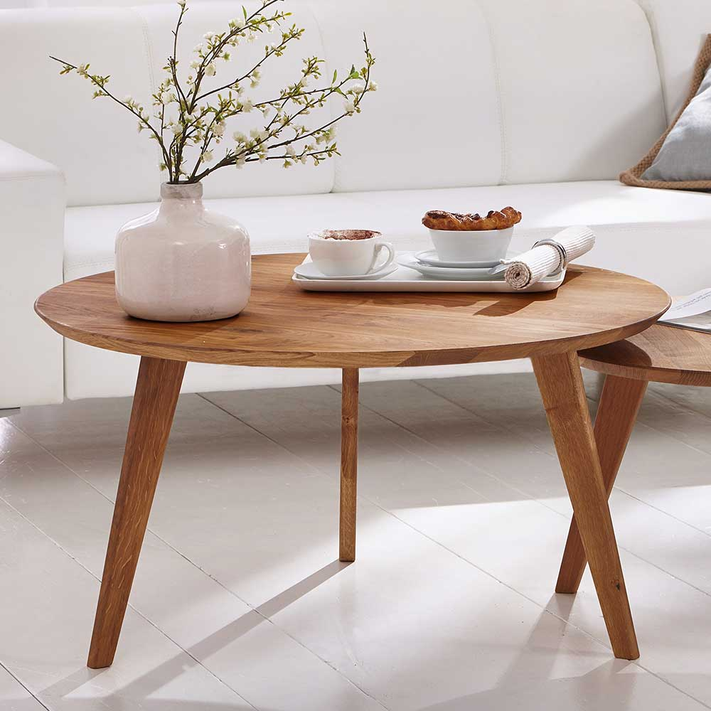 Runder Couchtisch aus Wildeiche Massivholz Retro Design
