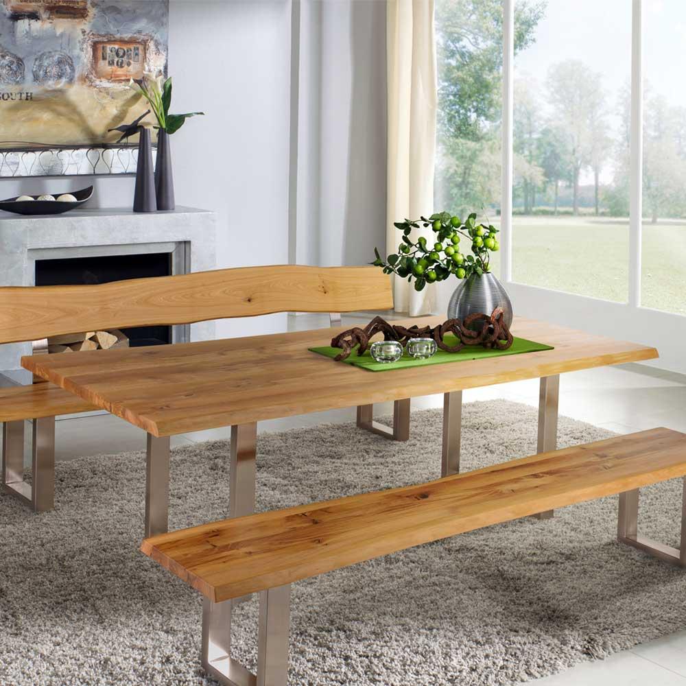 Bezaubernd Esstisch Holz Metall Ideen Von Esszimmertisch Mit Baumkante Wildeiche Massiv