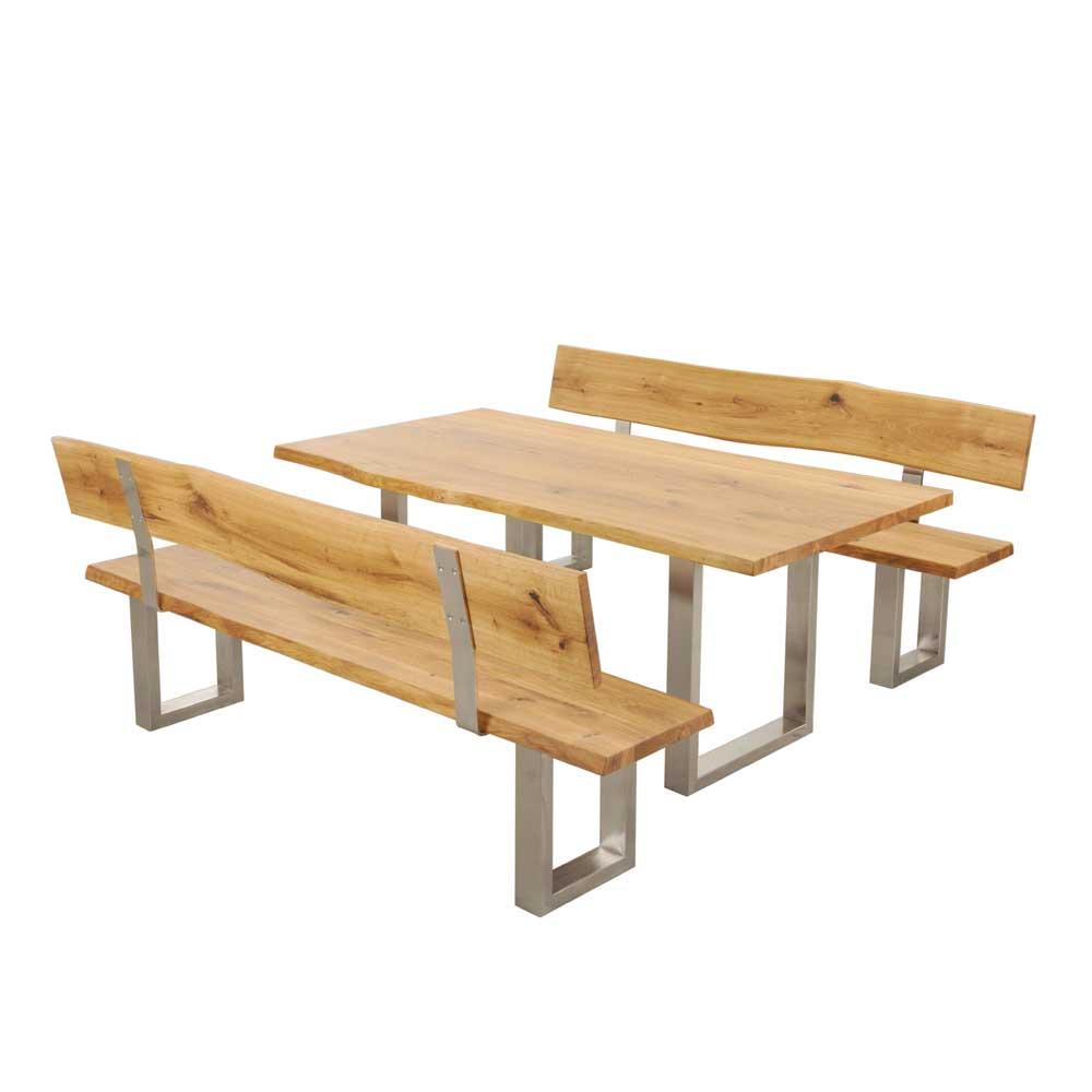 Baumkanten Essgruppe aus Wildeiche Massivholz Stahl (dreiteilig)