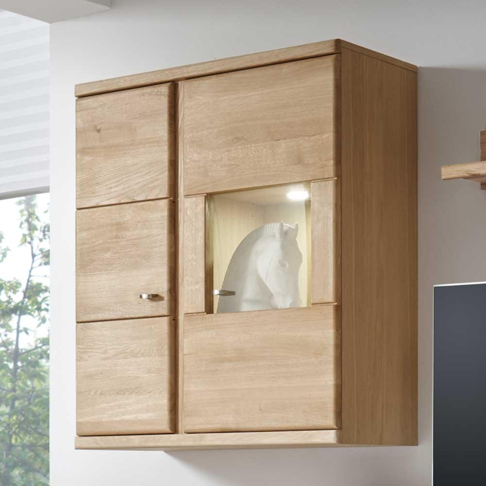 Hängevitrine aus Wildeiche Bianco 90 cm breit | Wohnzimmer > Vitrinen > Hängevitrinen | Holz | Massivholz | Nature Dream