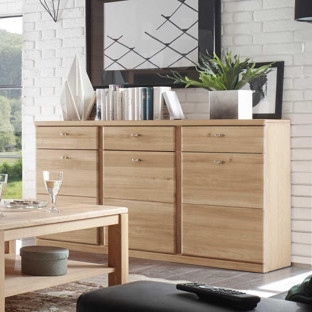 Wohnzimmer Sideboard aus Wildeiche Bianco 3 türig