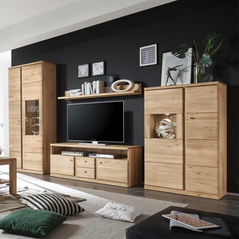 Wohnzimmer Wohnwand aus Wildeiche Bianco LED Beleuchtung (4-teilig)
