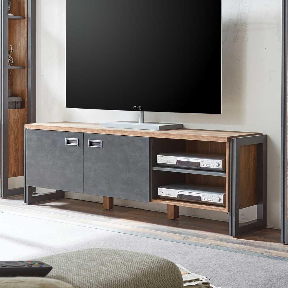 TV Tisch in Eiche dunkel Schiefer Grau