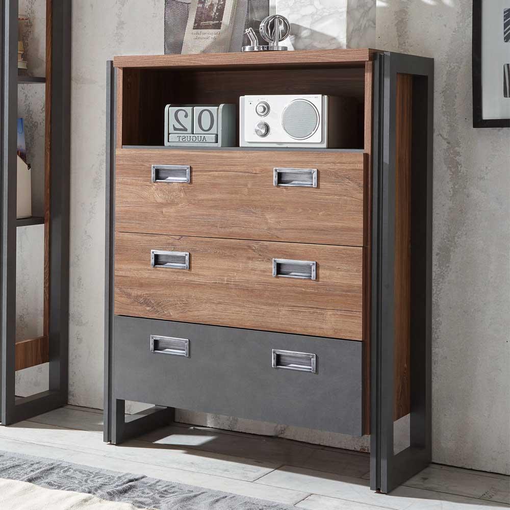 Schlafzimmer Kommode in Eiche dunkel Schiefer Grau Loft Design