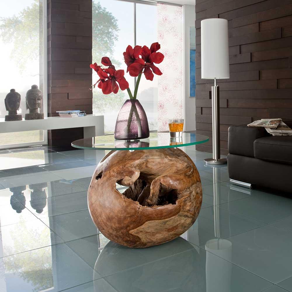 Runder Couchtisch aus Glas Teak Massivholz