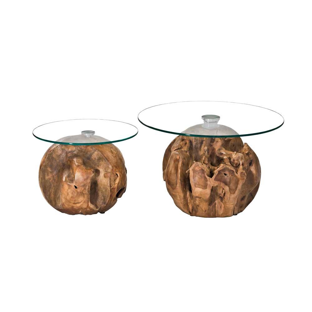 Teakholz Kugel Couchtisch Set mit runder Glasplatte kaufen (zweiteilig)
