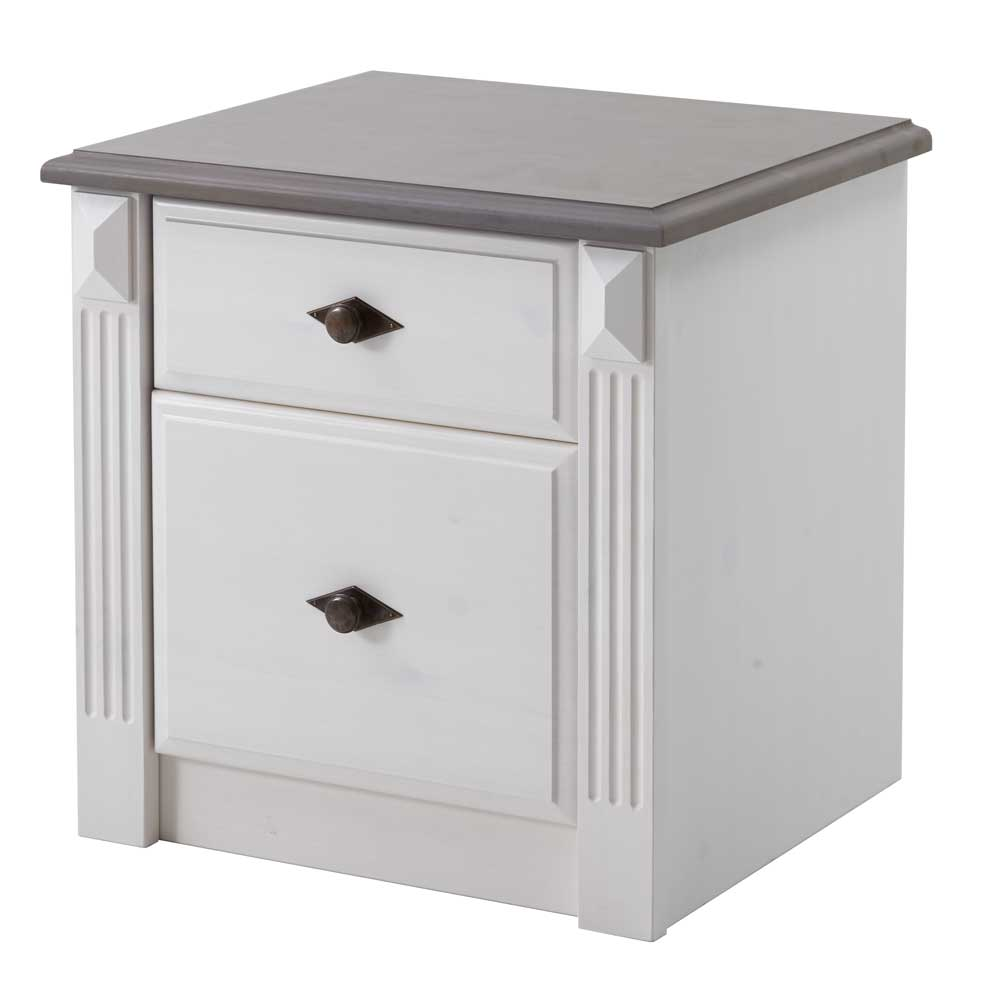 Nachtkonsole in Weiß Grau Kiefer massiv | Schlafzimmer > Nachttische | Weiß | Kiefer - Massivholz - Holz - Gebeizt - Lackiert - Massiv | Life Meubles