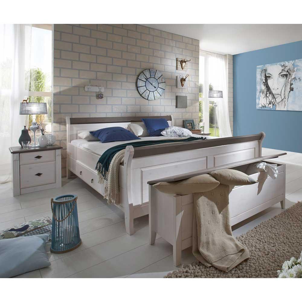 Schlafzimmermöbel Set in Weiß Grau Landhausstil (4-teilig)