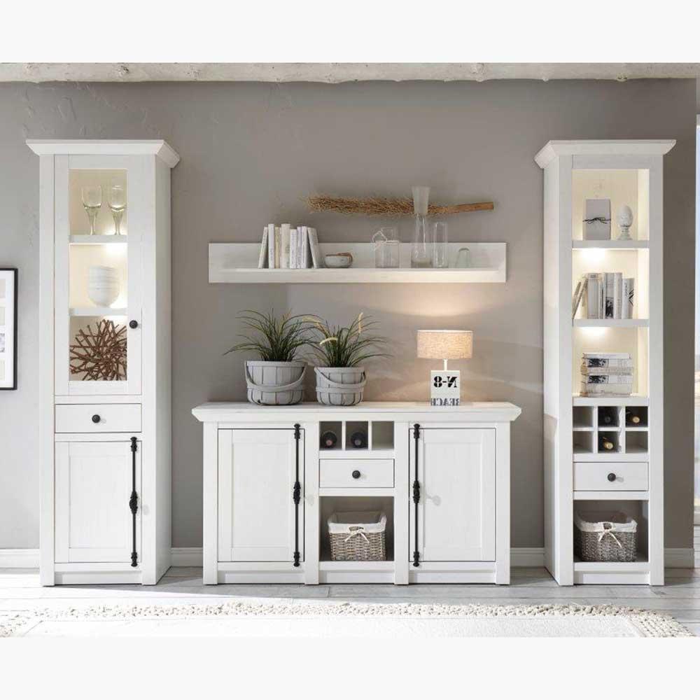 Wohnwand im Landhaus Design mit Sideboard (vierteilig)