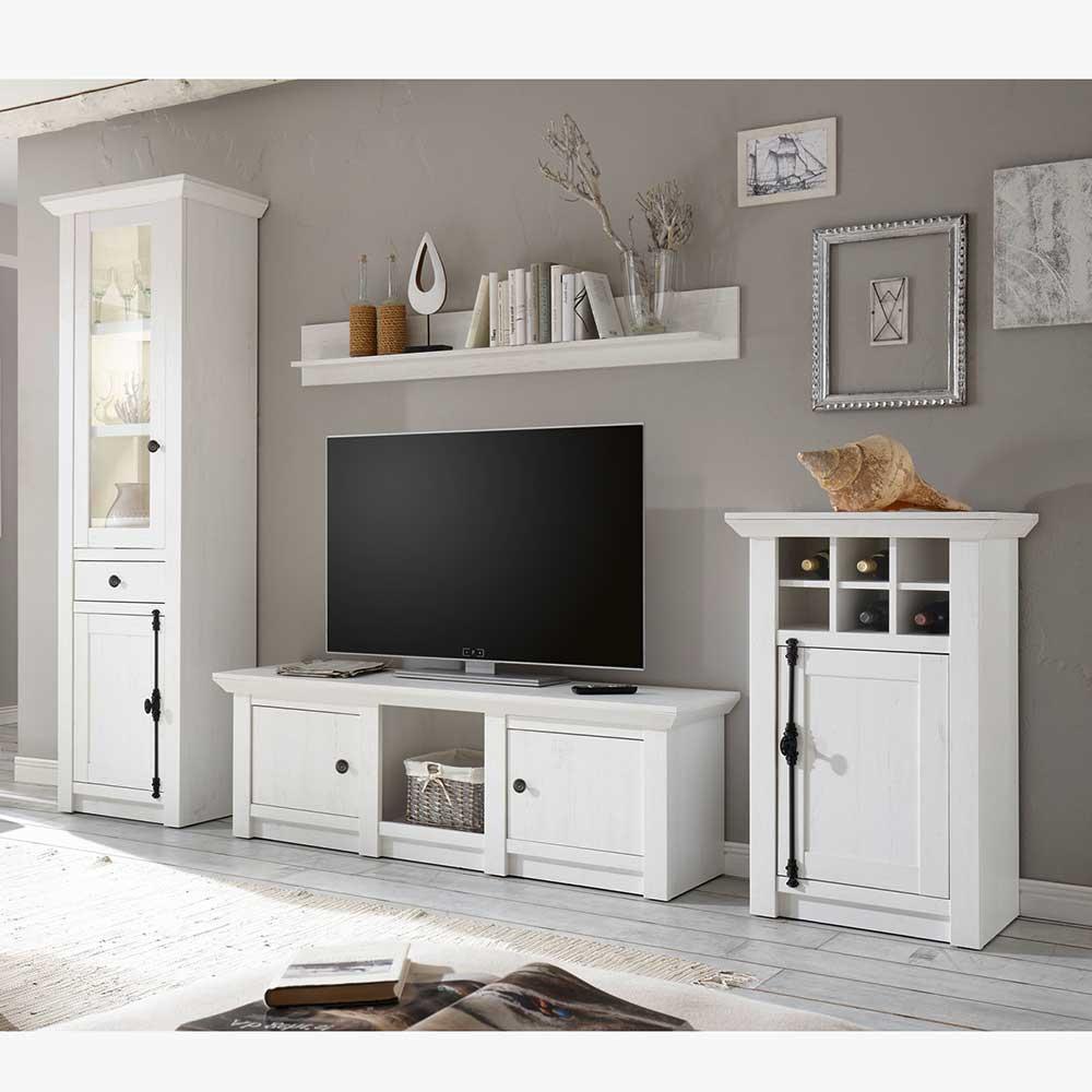 Design Wohnwand im Landhaus Look Pinie Weiß (vierteilig)