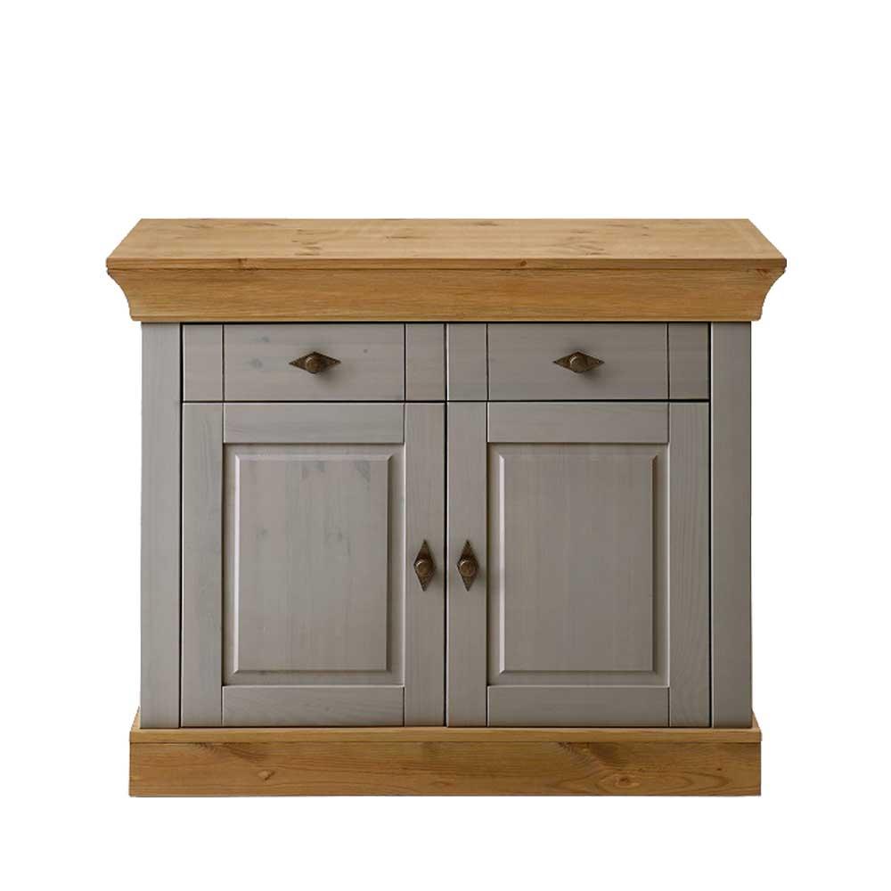 Garderoben Kommode in Grau Holz Kiefer teilmassiv