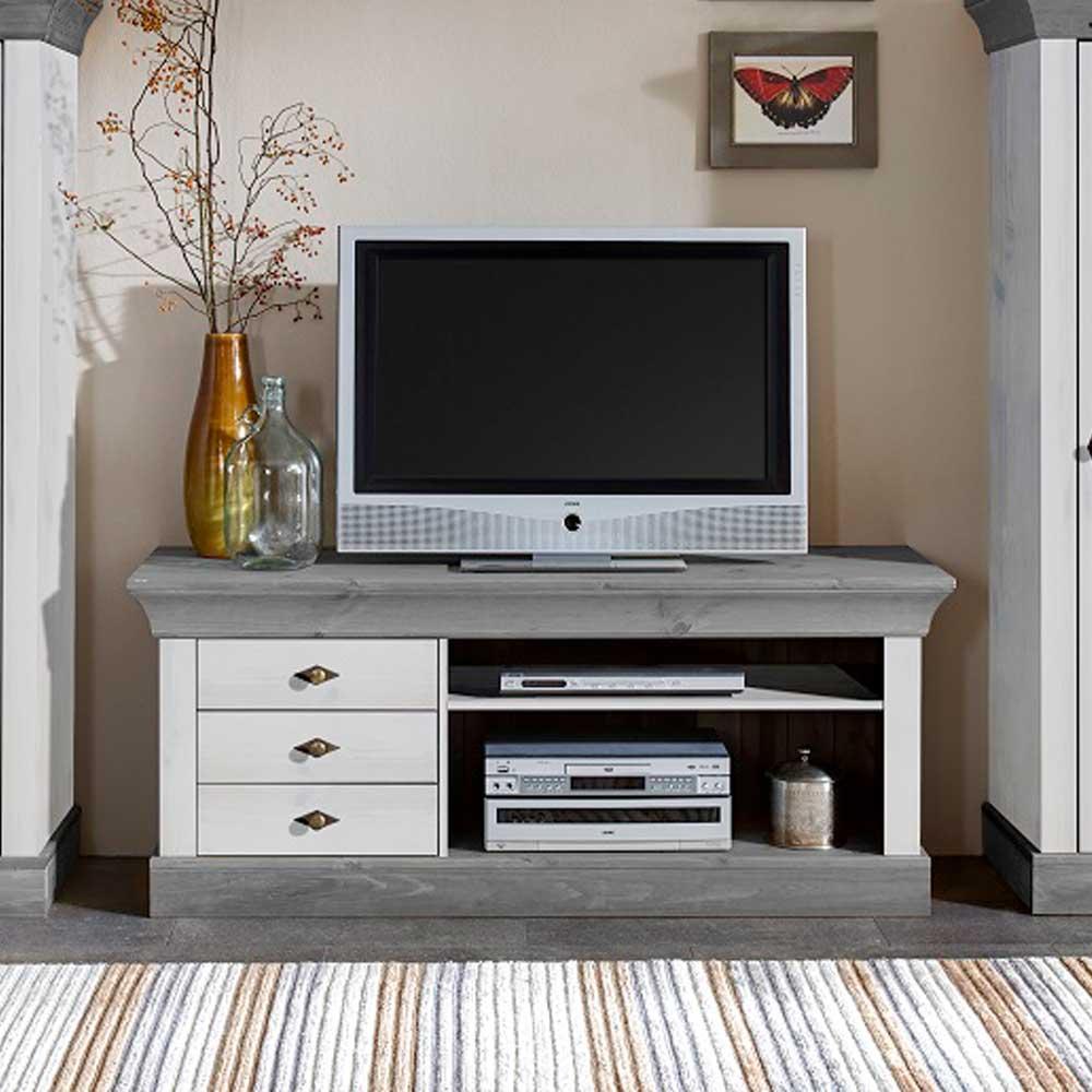 TV Lowboard im Landhaus Design Weiß Grau