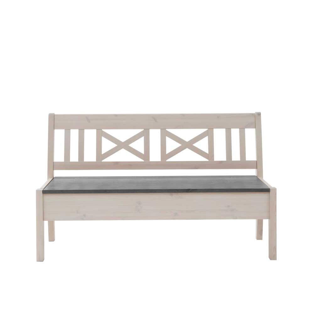 Truhenbank in Weiß Grau Kiefer massiv | Küche und Esszimmer > Sitzbänke > Truhenbänke | Weiß | Kiefer - Massivholz - Holz - Lackiert | Life Meubles