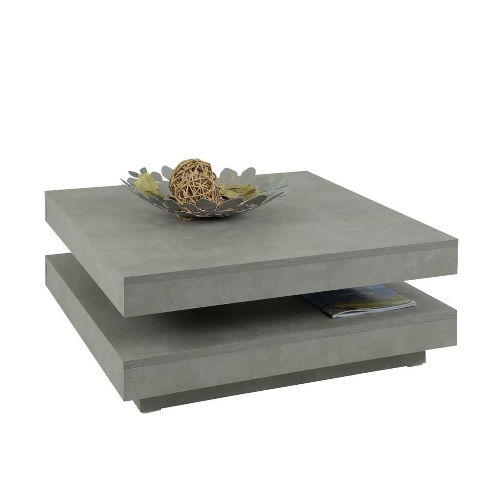 Wohnzimmer Couchtisch mit drehbarer Tischplatte Beton Grau