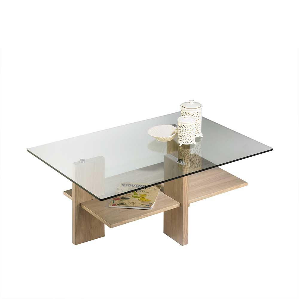 Wohnzimmertisch mit Glasplatte Eiche