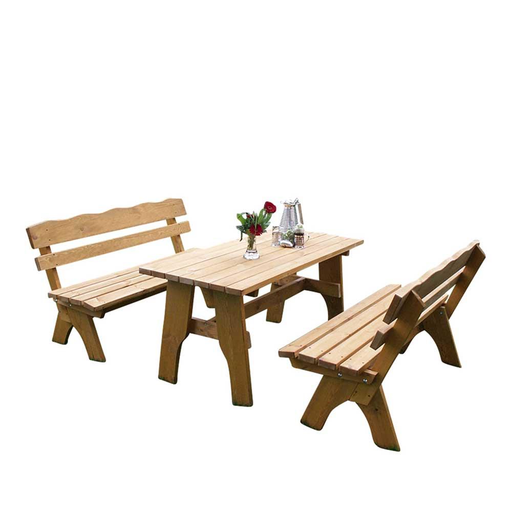 Gartentischgruppe aus Kiefer massiv mit Bänken (3-teilig)