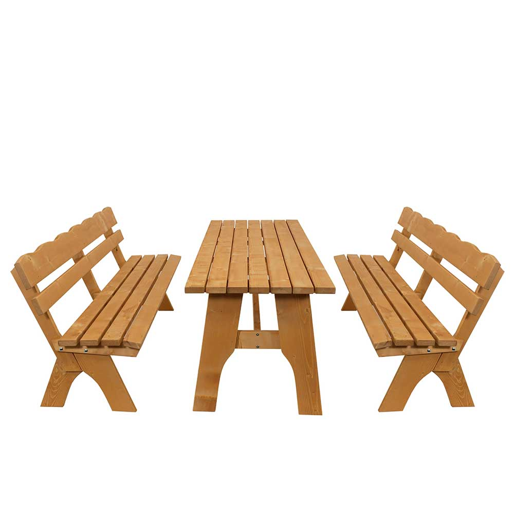Terrassensitzgruppe mit Bänken Kiefer Massivholz (3-teilig)