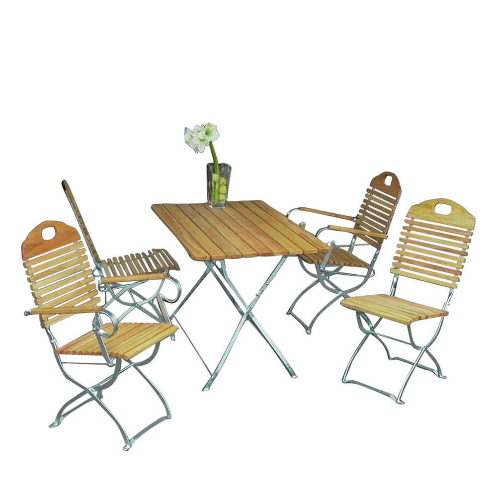 Gartensitzgruppe aus Robinie massiv klappbar (5-teilig)