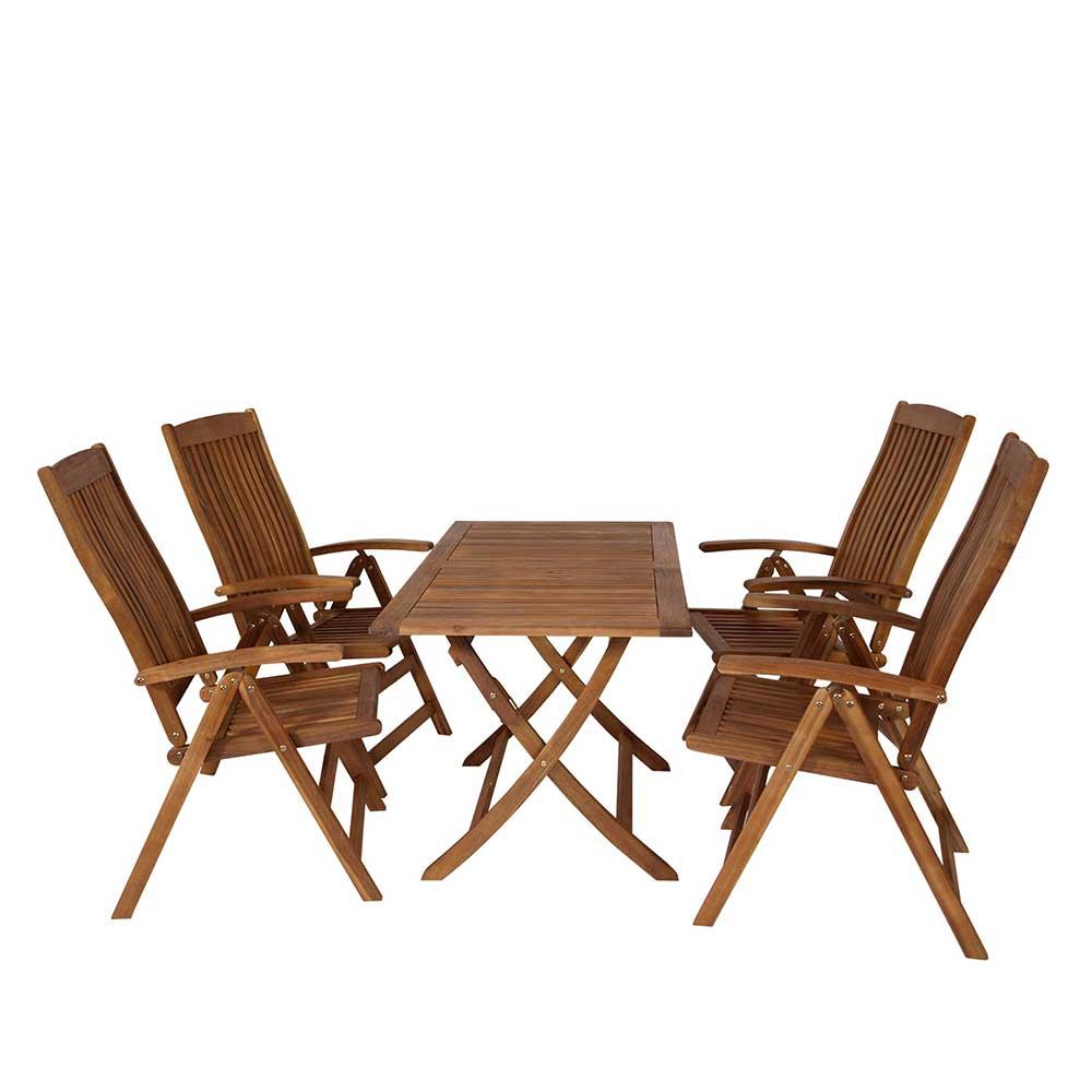 Terrassensitzgruppe aus Akazie Massivholz klappbar (5-teilig)