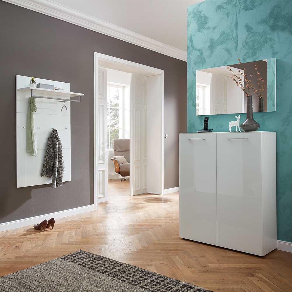 Garderobenset in Weiß Glas beschichtet mit Spiegel (3-teilig) | Flur & Diele > Spiegel > Garderobenspiegel | Weiß | Holzwerkstoff | Möbel Exclusive