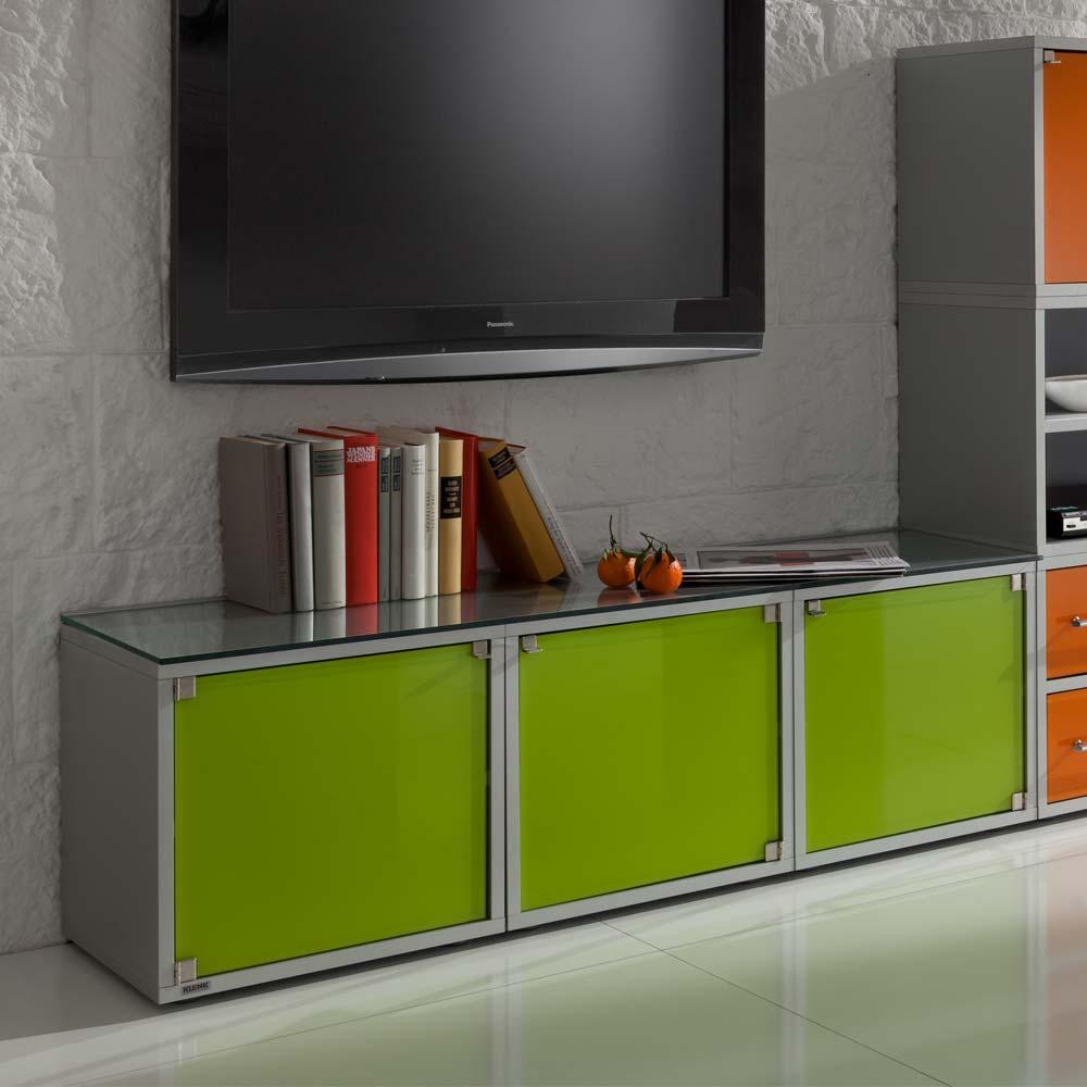 Design Lowboard in Grün Glas modern