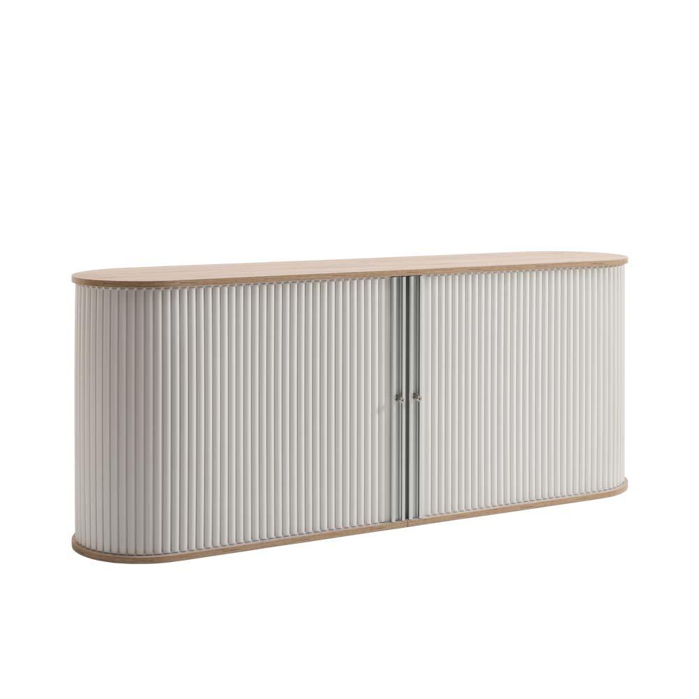Rolladen Büroschrank in Weiß Eiche abschließbar | Büro > Büroschränke > Aktenschränke | Weiß | Holzwerkstoff | Spirinha