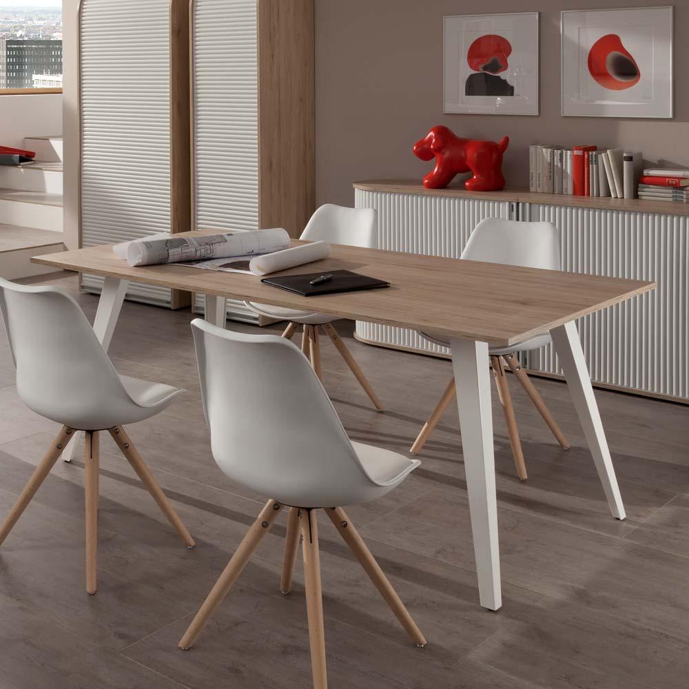 Esszimmertisch in Eiche Weiß 180 cm