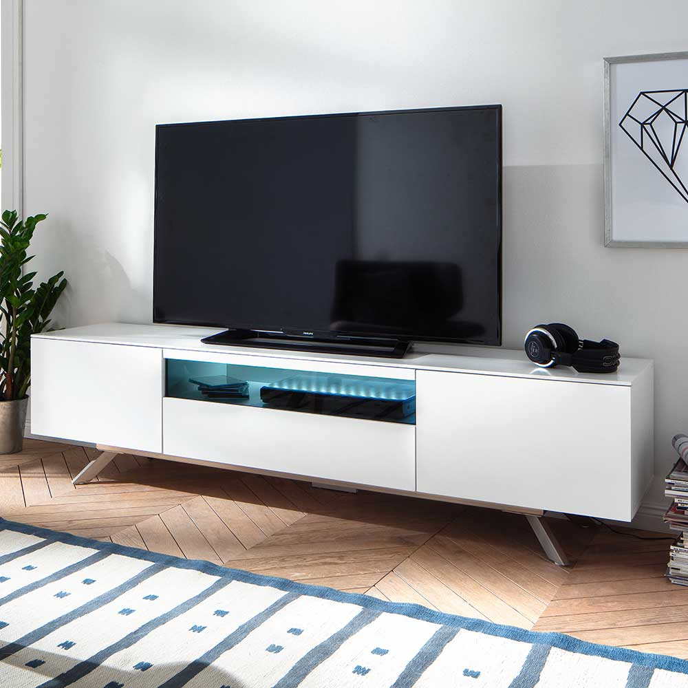 TV Board in Weiß Glas LED Beleuchtung