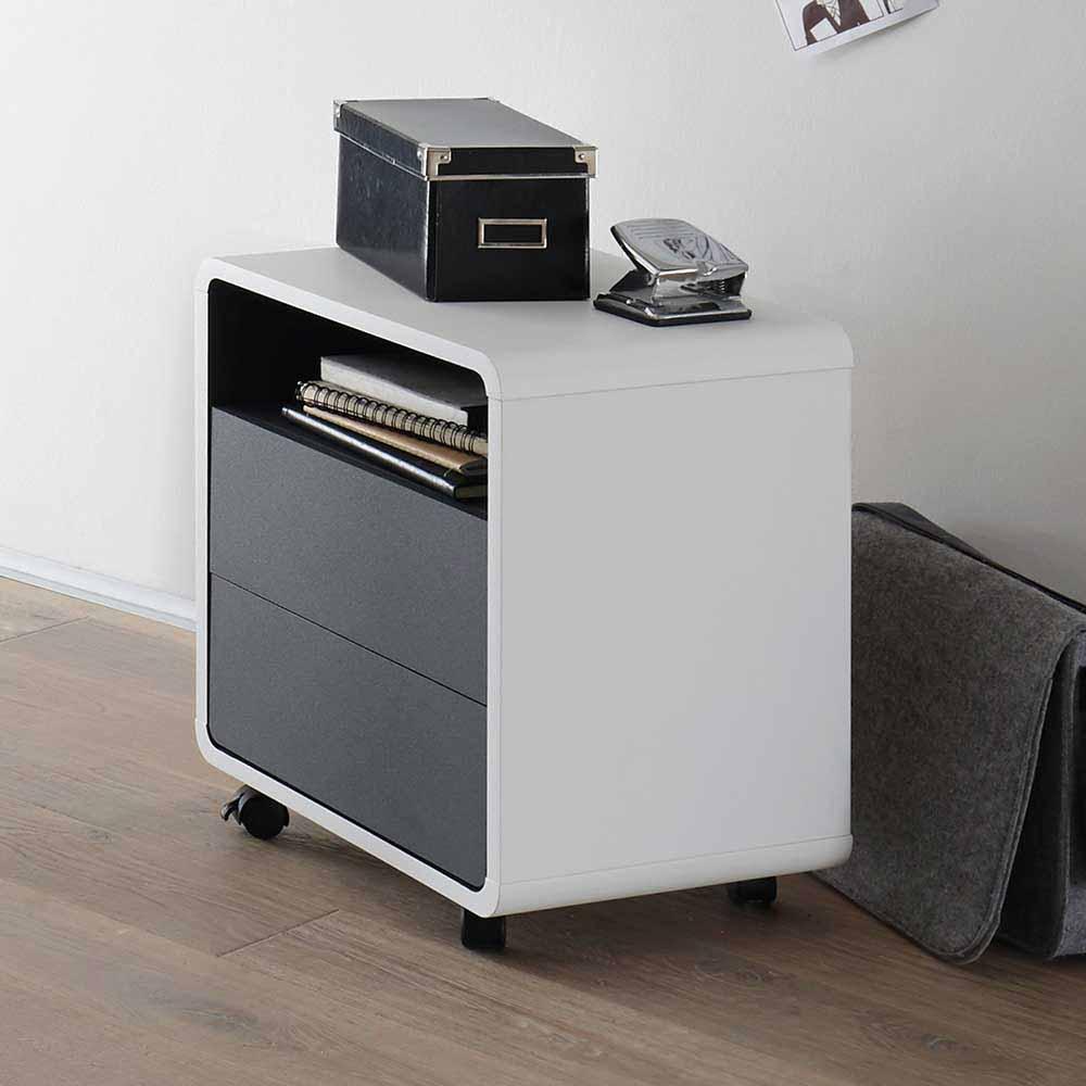 Schreibtisch Rollcontainer in Weiß Anthrazit mit offenem Fach