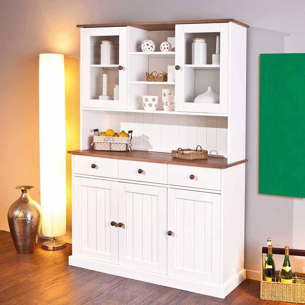 Esszimmer Buffet in Weiß Braun Kiefer massiv | Küche und Esszimmer > Essgruppen > Essgruppen | TopDesign