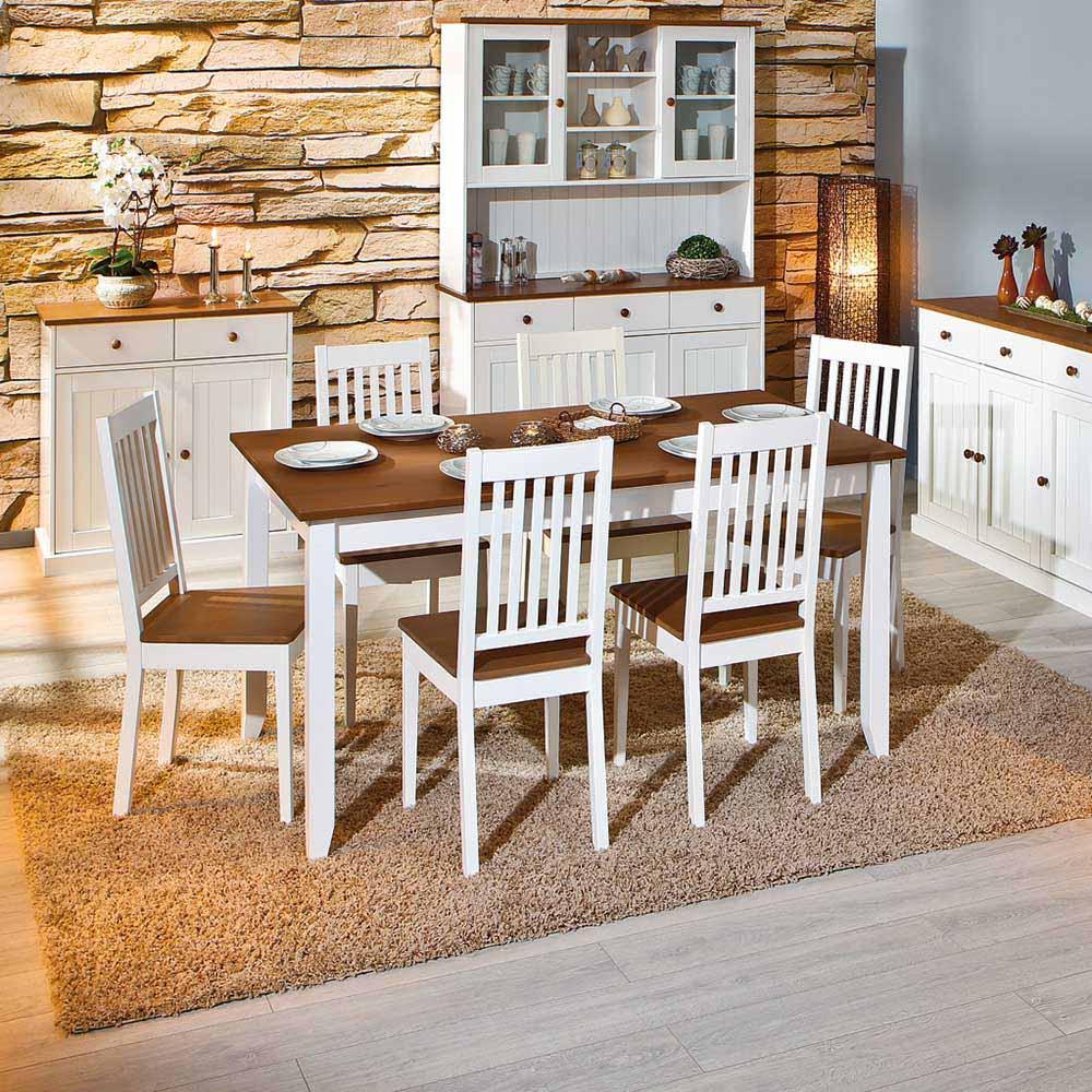Esszimmertisch in Weiß Braun Kiefer Massivholz