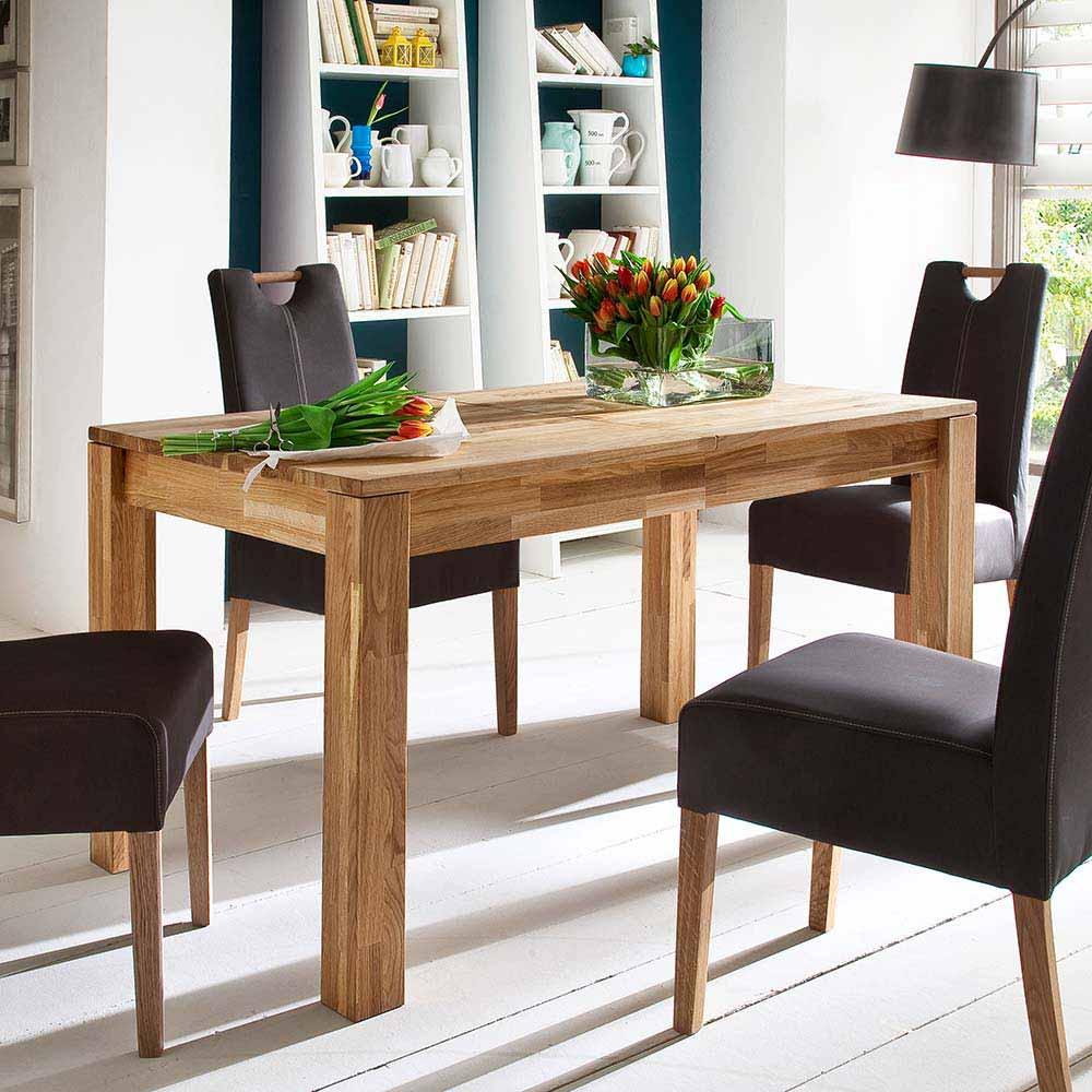 Holztisch aus Wildeiche Massivholz ausziehbar