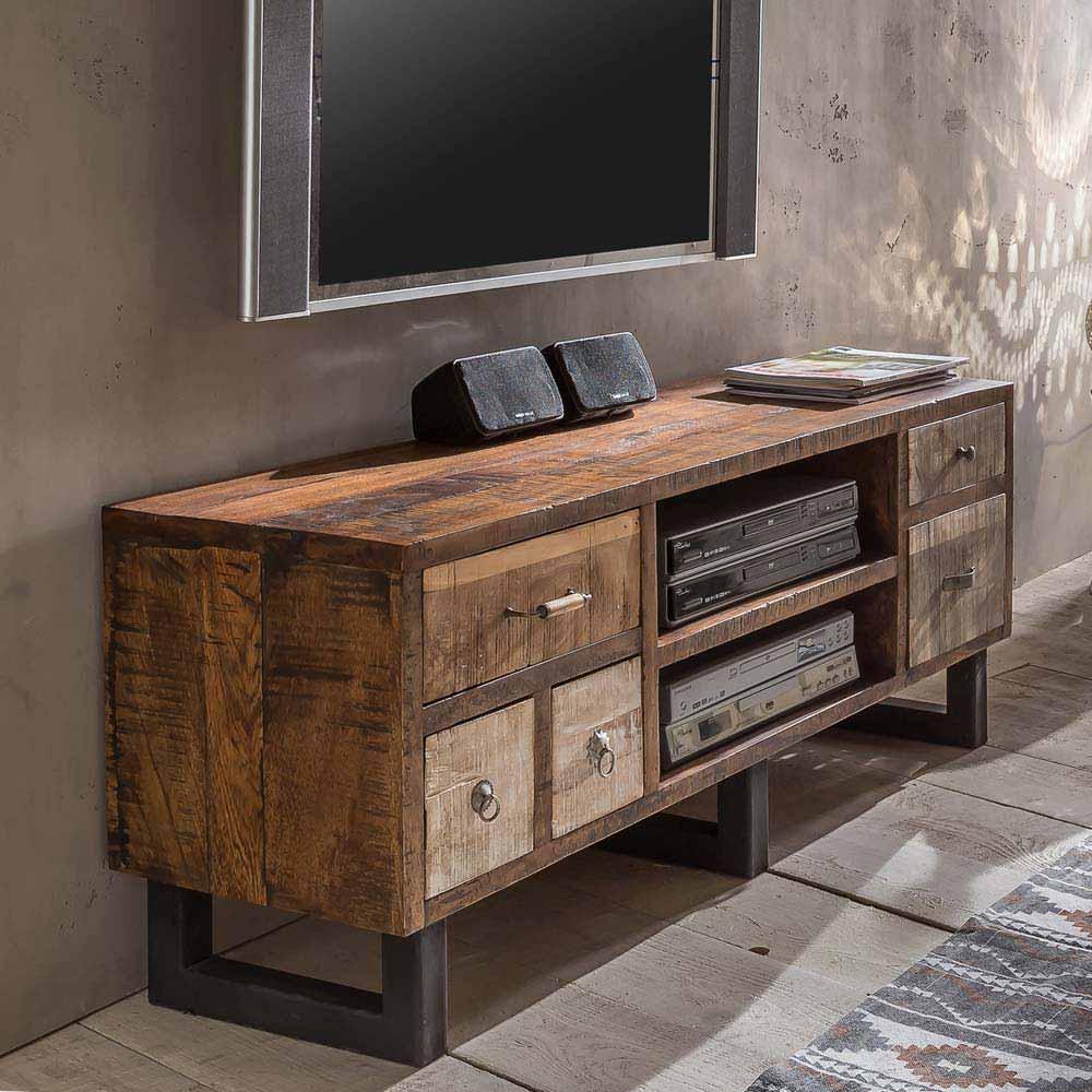 TV Unterschrank im Loft Design Mangobaum Recyclingholz