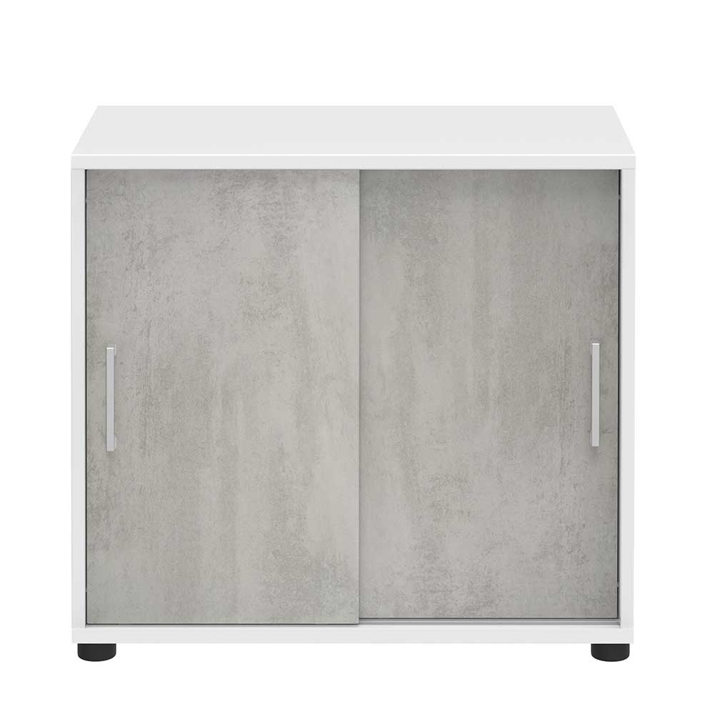 Büroschrank mit Schiebetüren Beton Grau Weiß | Büro > Büroschränke > Aktenschränke | Grau | Holzwerkstoff | Spirinha