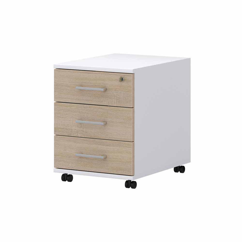 Schreibtisch Rollcontainer in Weiß Sonoma Eiche