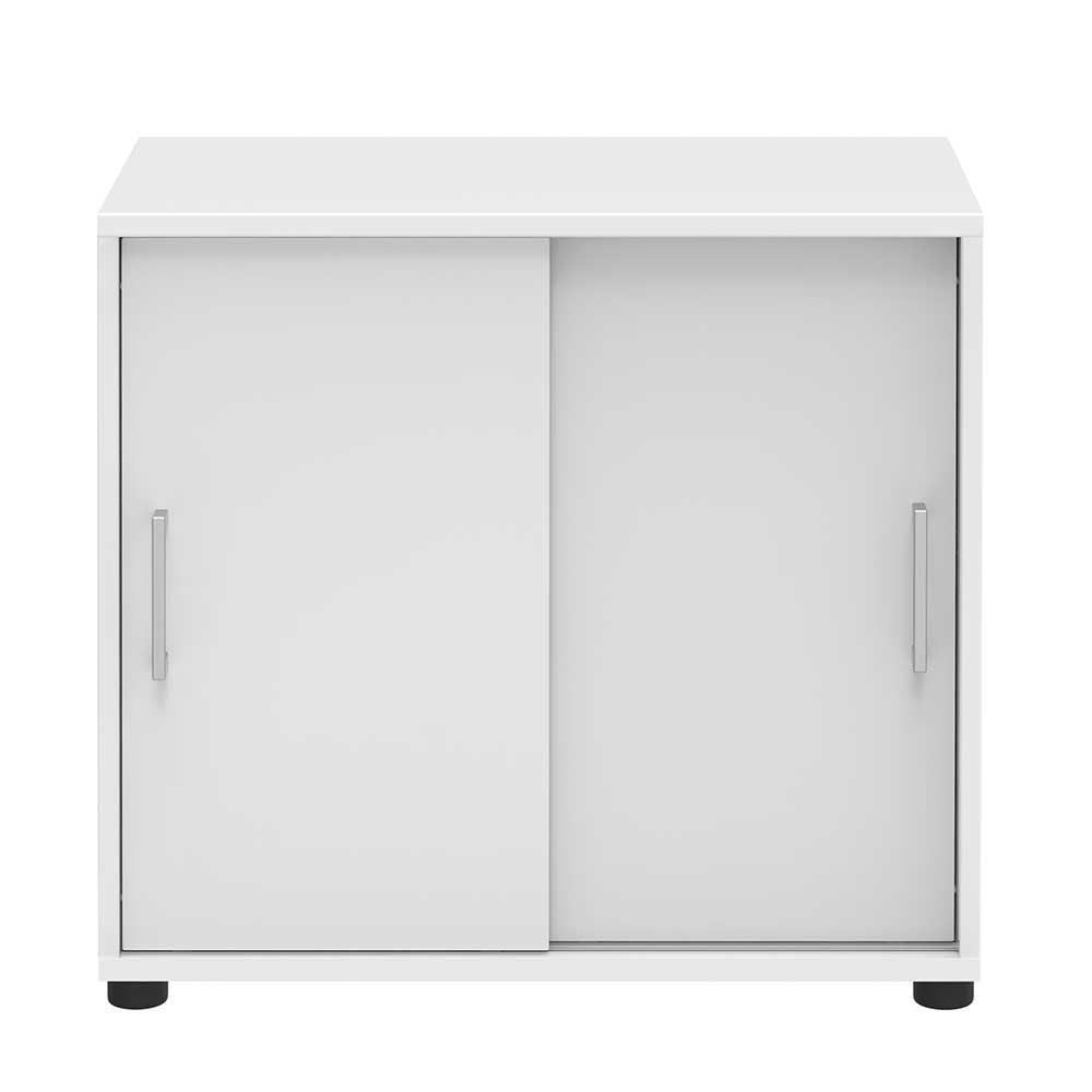 Schiebetüren Büroschrank in Weiß 80 cm | Büro > Büroschränke > Aktenschränke | Weiß | Holzwerkstoff | Spirinha