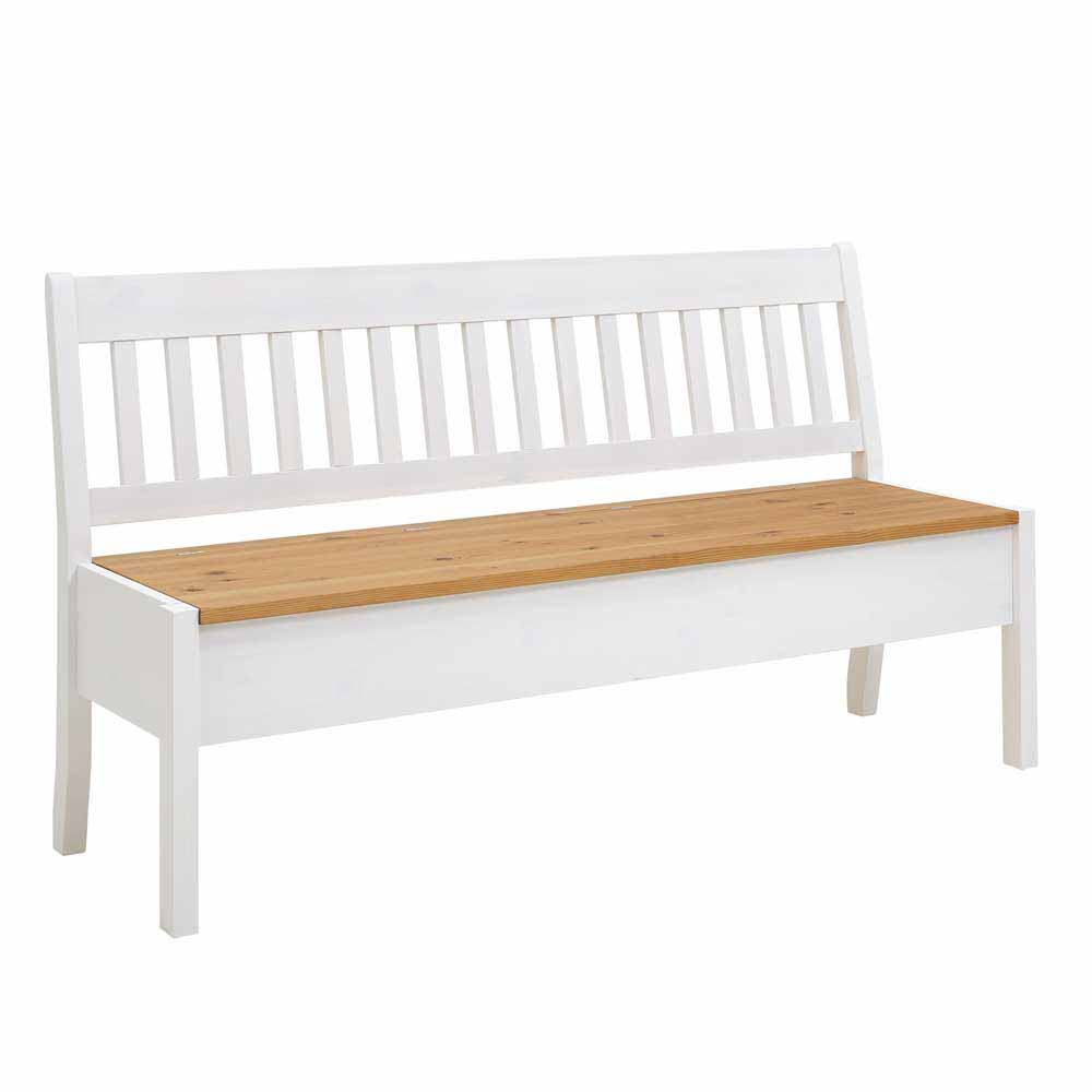 Landhaus Sitzbank mit Truhe Kiefer Weiß | Küche und Esszimmer > Sitzbänke > Truhenbänke | Weiß | Massivholz | Life Meubles