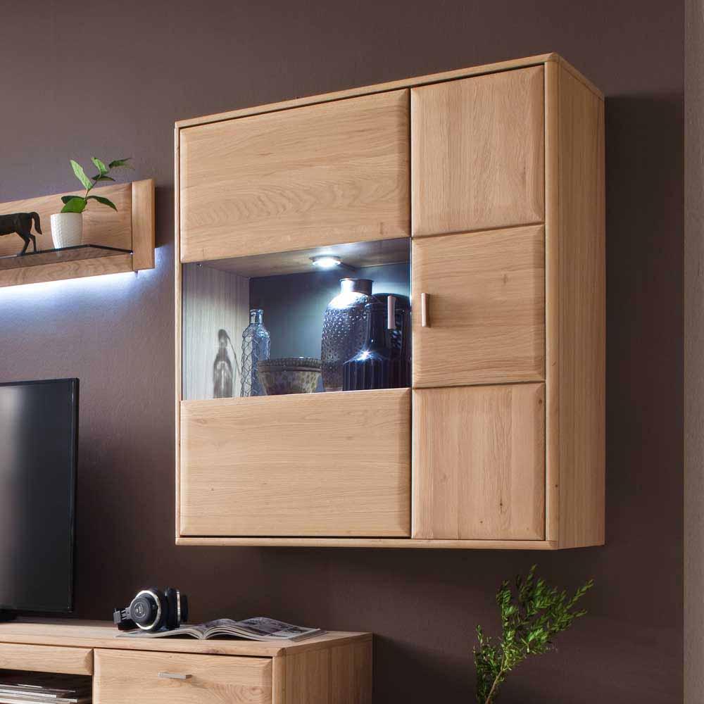 Wandvitrine aus Eiche Bianco LED Beleuchtung   Wohnzimmer > Vitrinen > Hängevitrinen   Eiche - Bianco - Massivholz - Mdf - Glas - Geölt - Holz   TopDesign